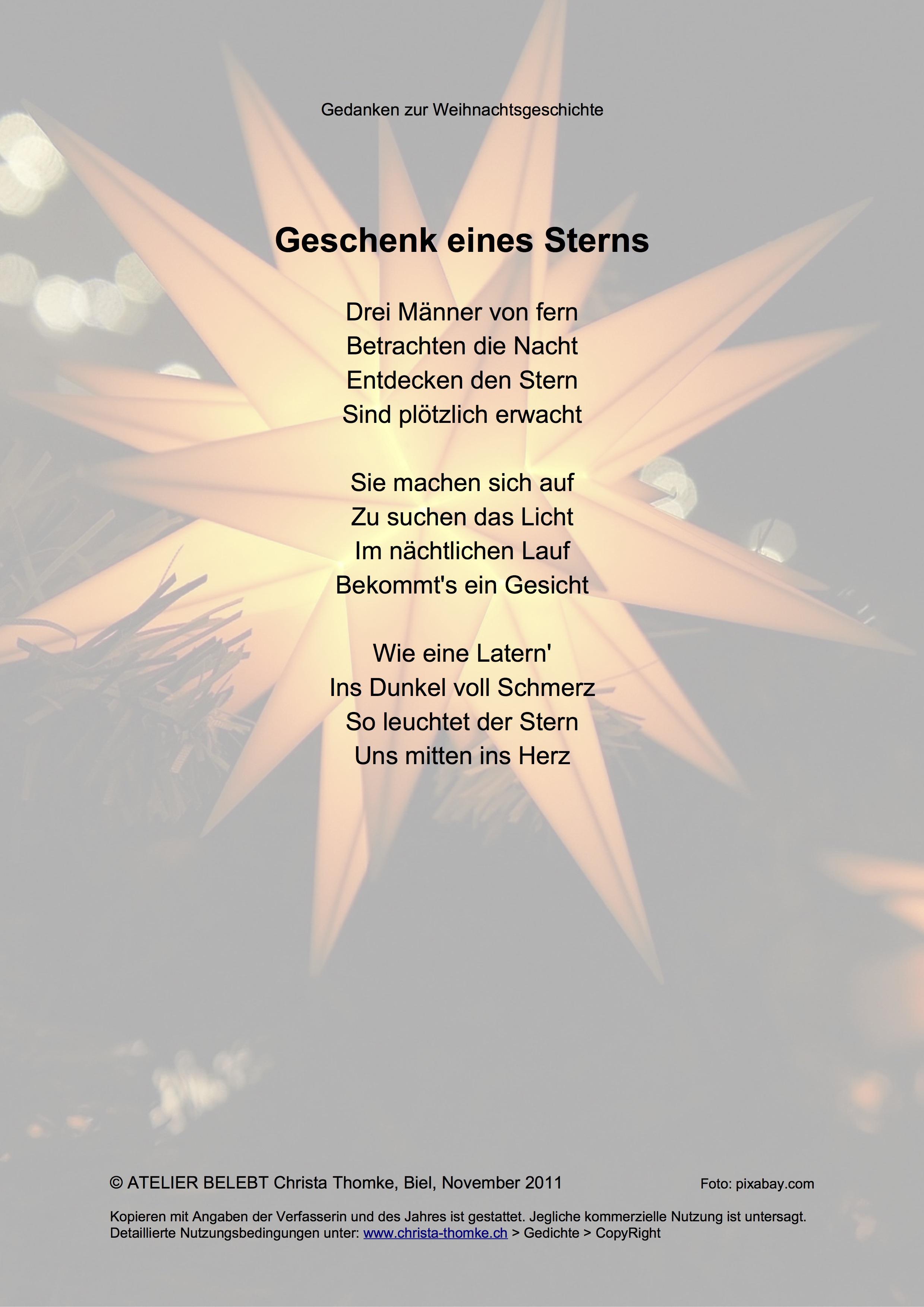 Geschenk eines Sterns / @ Christa Thomke