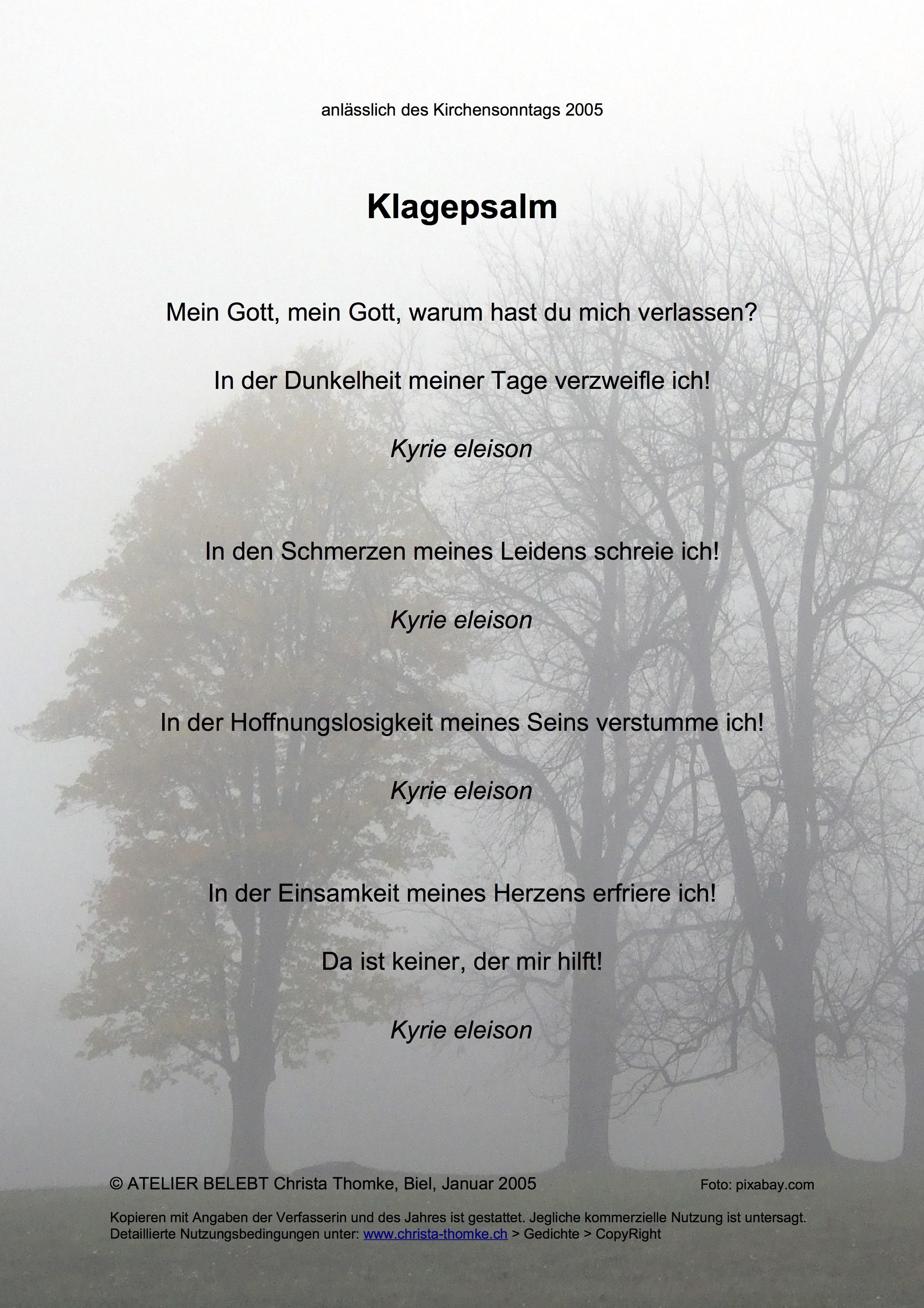 Klagepsalm / @ Christa Thomke