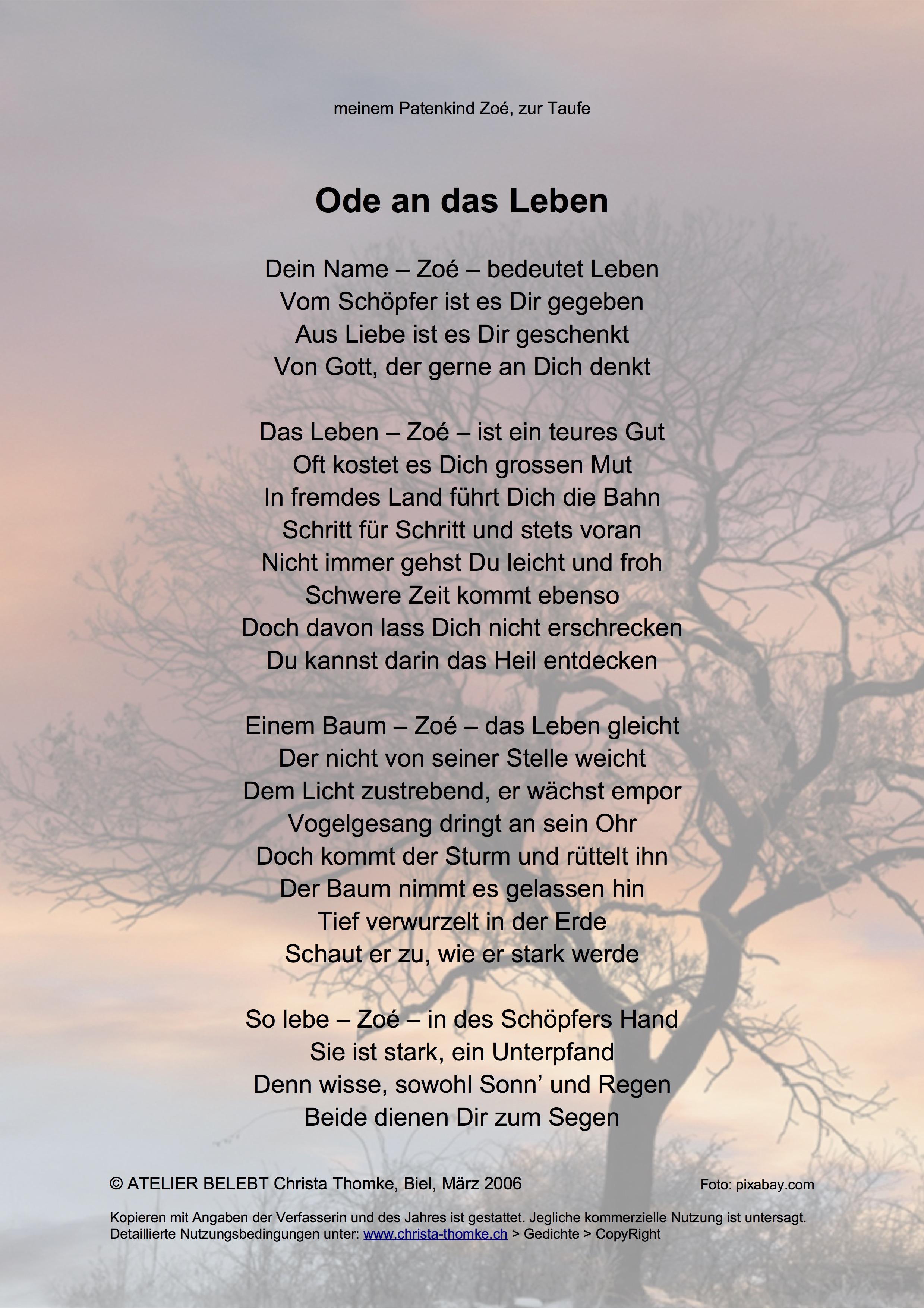 Ode an das Leben / @ Christa Thomke