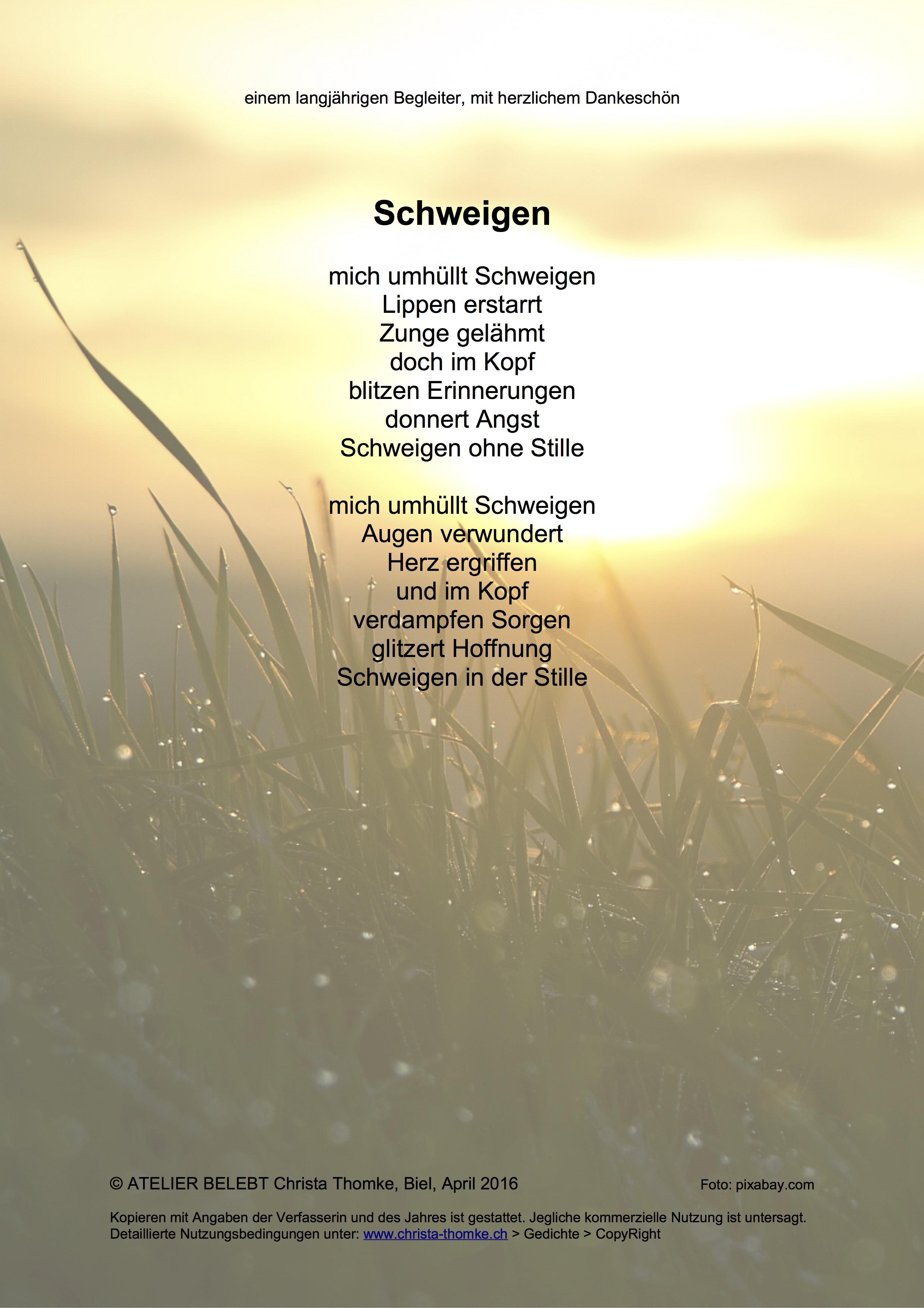 Schweigen / @ Christa Thomke
