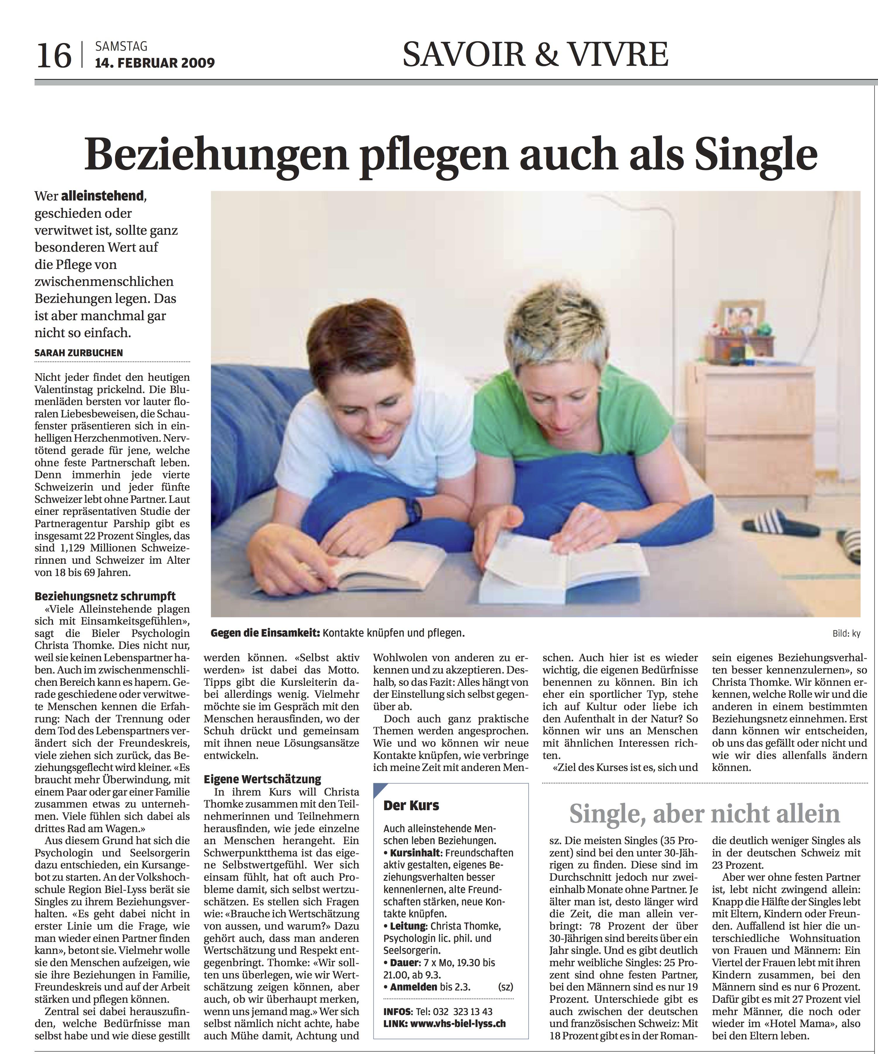 © Bieler Tagblatt, 14. Februar 2009, S. 16