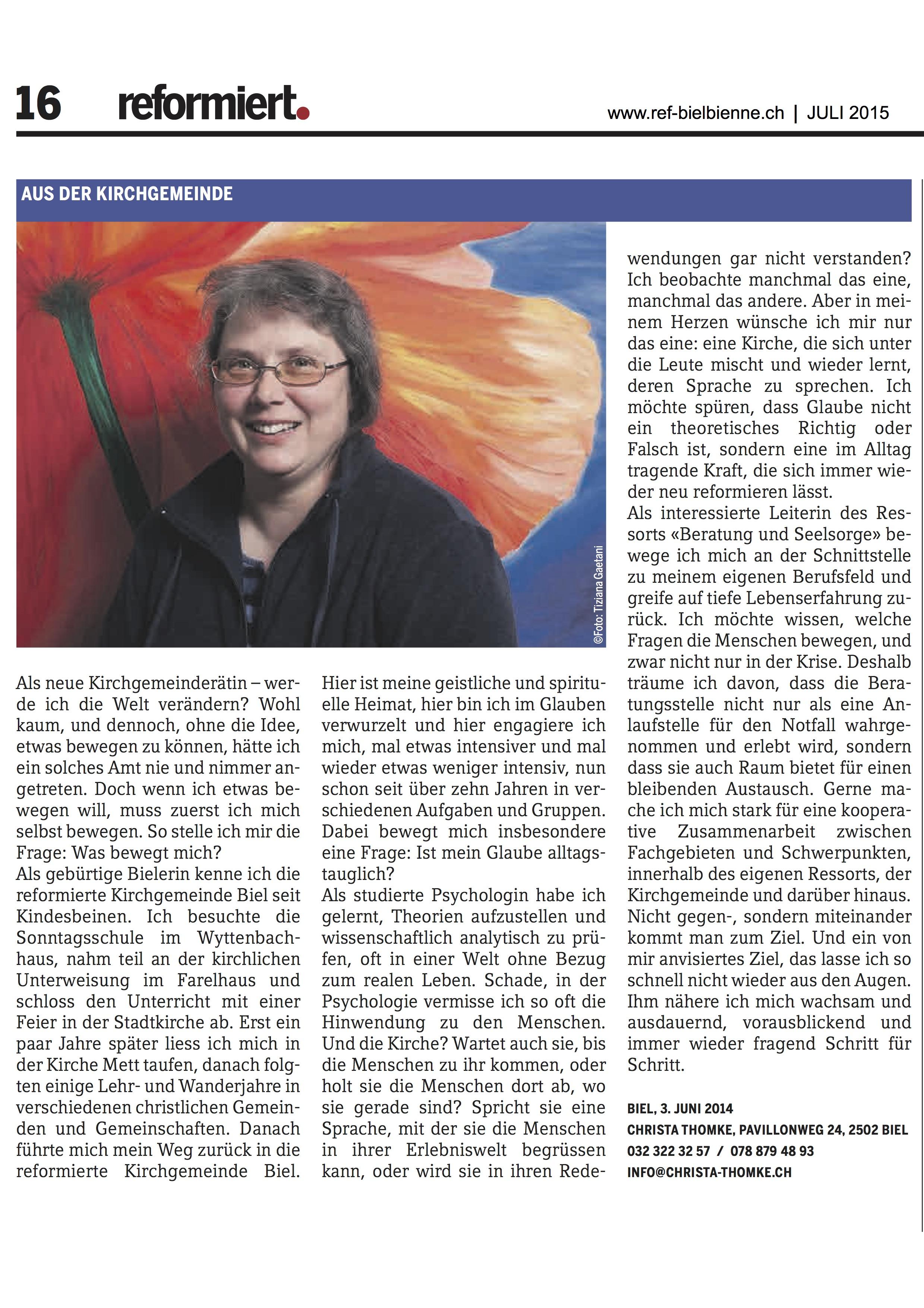 © reformiert. (Bieler Ausgabe), Juli 2015, S. 16