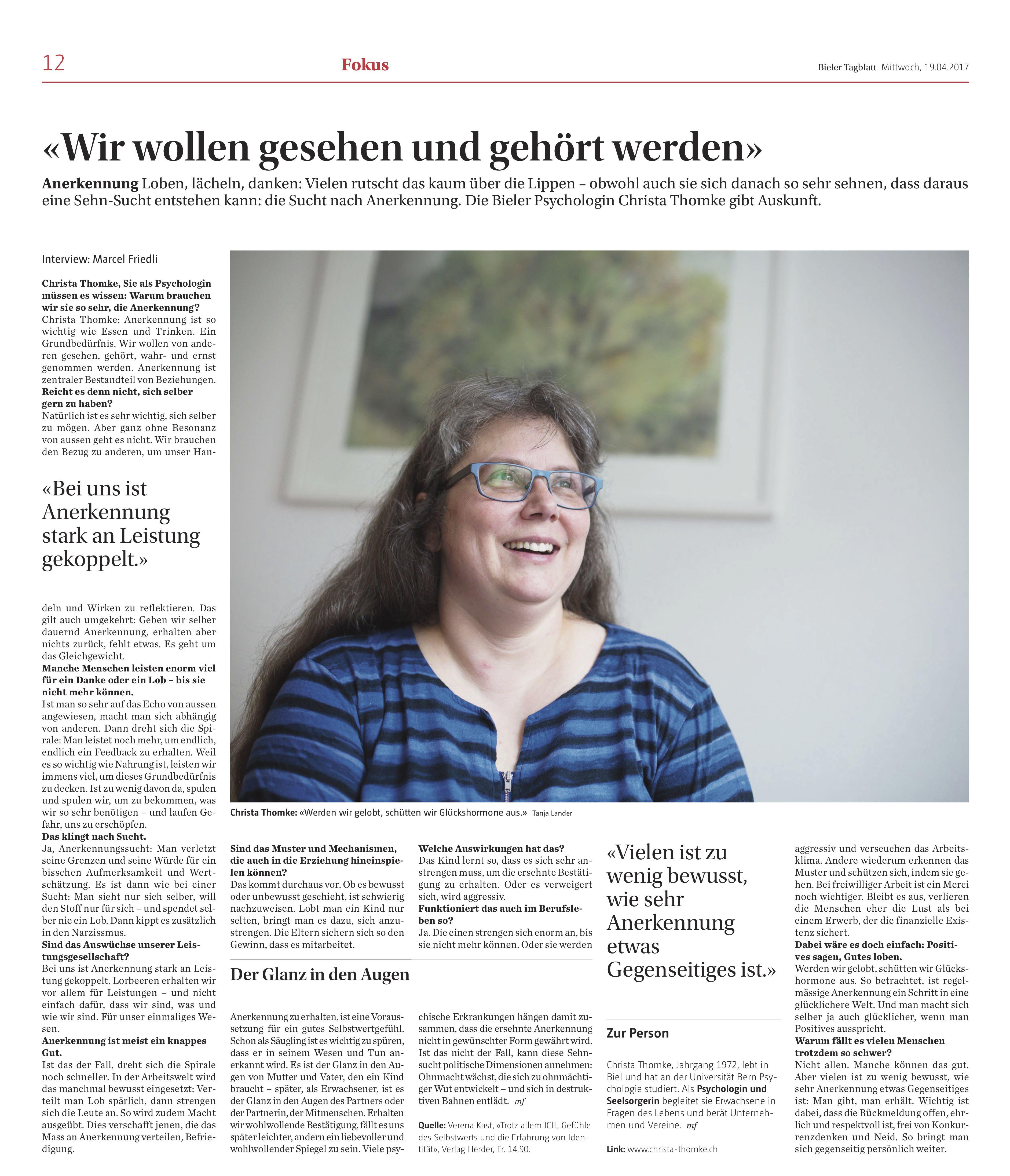 © Bieler Tagblatt, 19. April 2017, S. 12