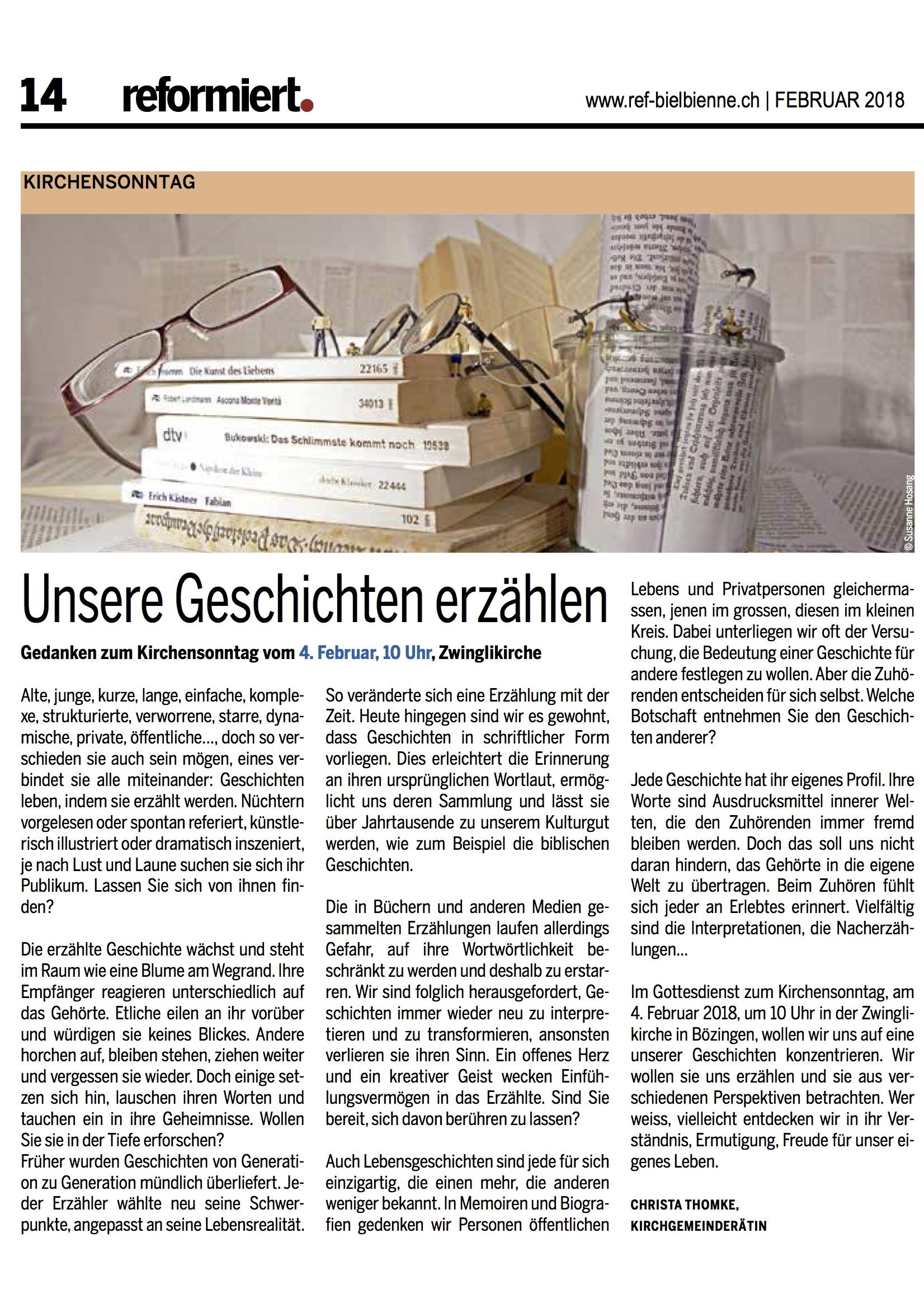 © reformiert. (Bieler Ausgabe), Februar 2018, S. 14