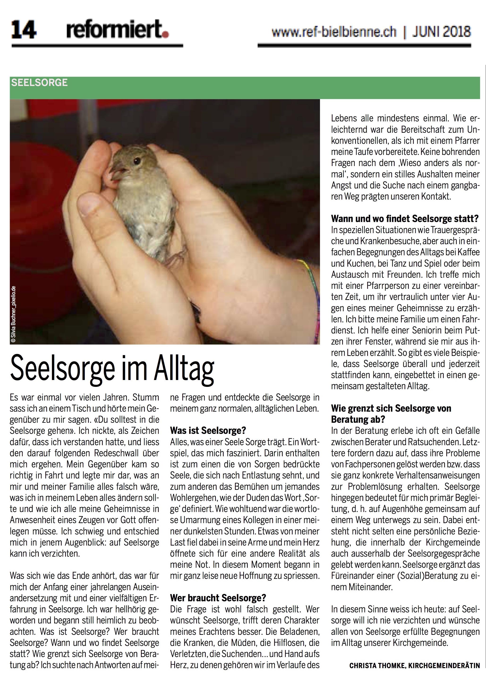 © reformiert. (Bieler Ausgabe), Juni 2018, S. 14